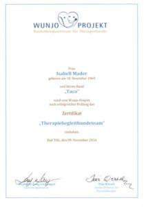 Therapiebegleithunde-Team Zertifikat
